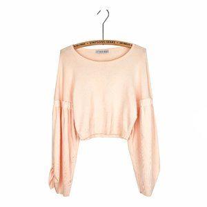 Zara Knit Balloon Sleeve Cropped Peach Top